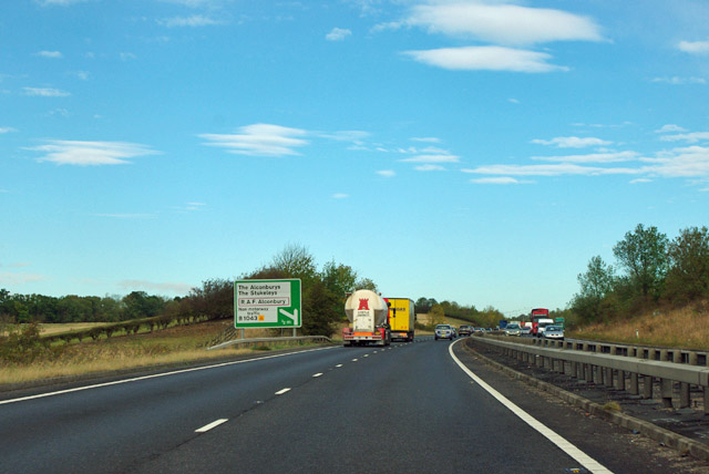 A14 - B1043 exit in 1/2 mile