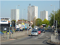SO9299 : Wednesfield Road and Heath Town tower blocks, Wolverhampton by Roger  Kidd
