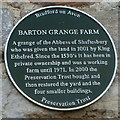 Photo of Aelthelfreda and Barton Grange Farm green plaque