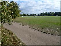 TQ2875 : Football pitches on Clapham Common by Marathon