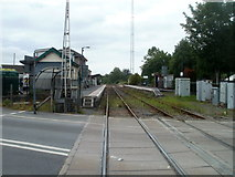 SN7634 : Llandovery railway station viewed from the A40 level crossing by Jaggery