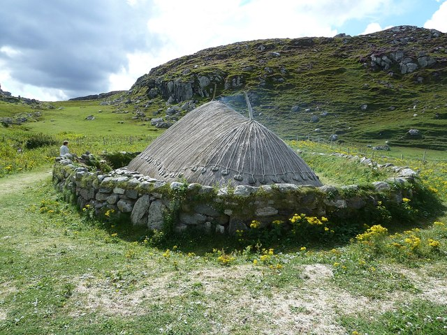 Reconstructed Iron Age House, Bostadh - from North