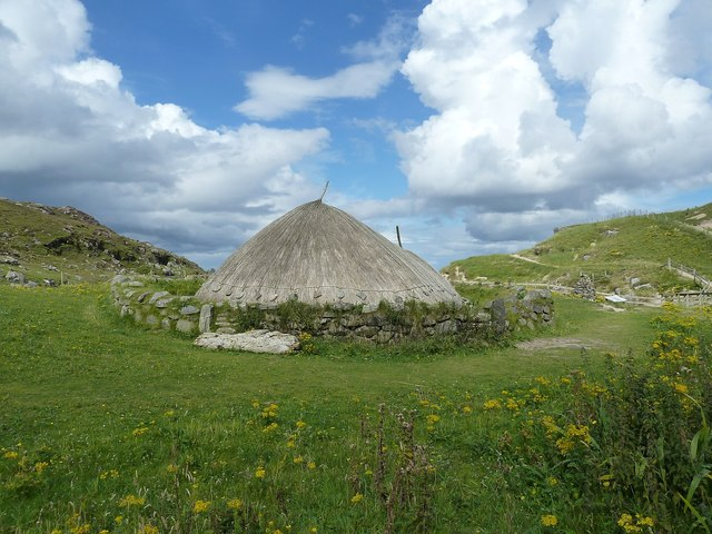 Reconstructed Iron Age House, Bostadh - from South