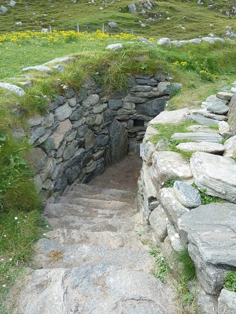 Entrance to reconstructed Iron Age house, Bostadh