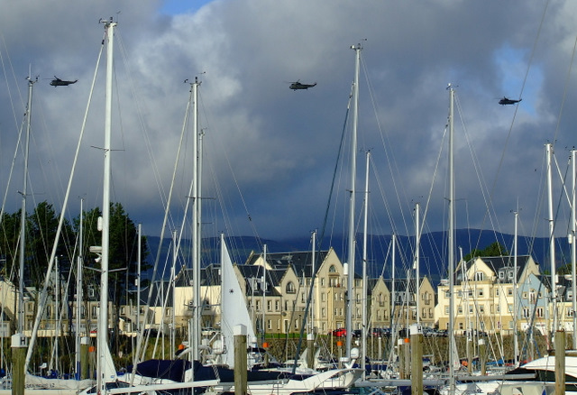 Helicopters passing Kip Marina