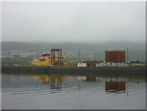 NS3075 : Doon The Watter - 25th June 2011 : Admiralty Ship and Oil Tank at Great Harbour, Port Glasgow by Richard West