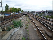 TQ2775 : View from the end of Platform 4 at Clapham Junction by Marathon