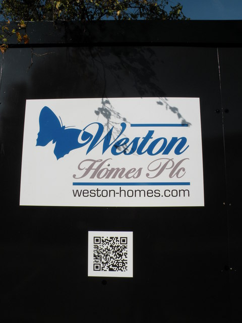Builder's sign with QR code