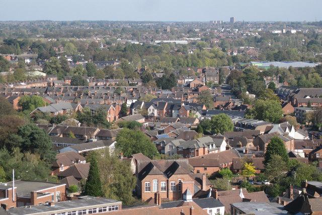 View over Warwick to Leamington
