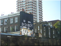 TQ2878 : Civil disobedience: Occupy LSX graffiti outside London Victoria station by Christopher Hilton