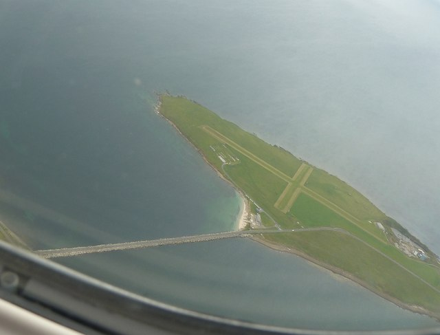 Lamb Holm from the air with Churchill Barrier No.1