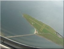 HY4800 : Lamb Holm from the air with Churchill Barrier No.1 by Rob Farrow
