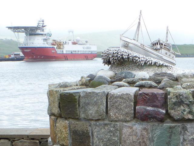 Scalloway: Shetland Bus memorial detail