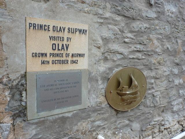 Scalloway: Prince Olav Slipway plaque