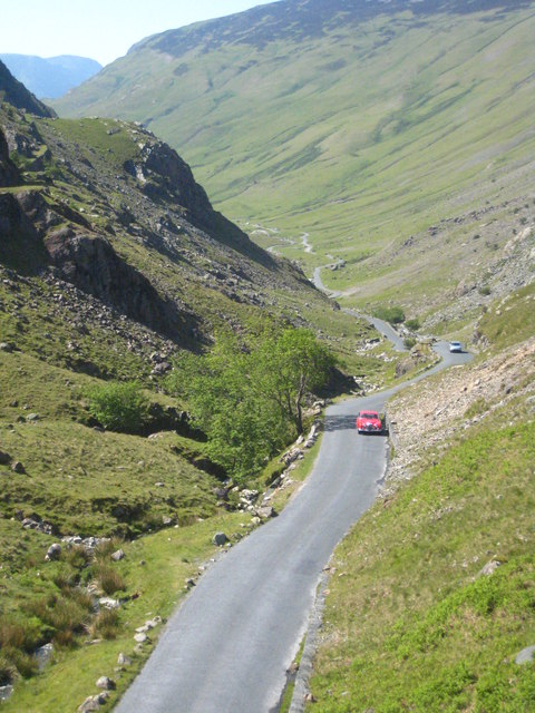 Looking down the west side of Honister Pass from the summit