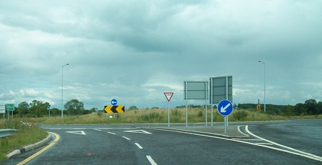 Roundabout at the junction of the N52 and the R164