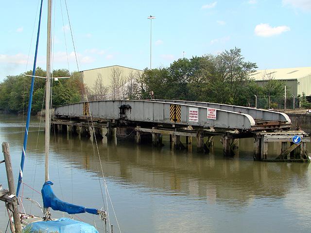 Railway swing bridge across the River Witham