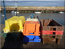 NT6779 : Coastal East Lothian : Fishboxes at Dunbar - 15th October 2011 by Richard West