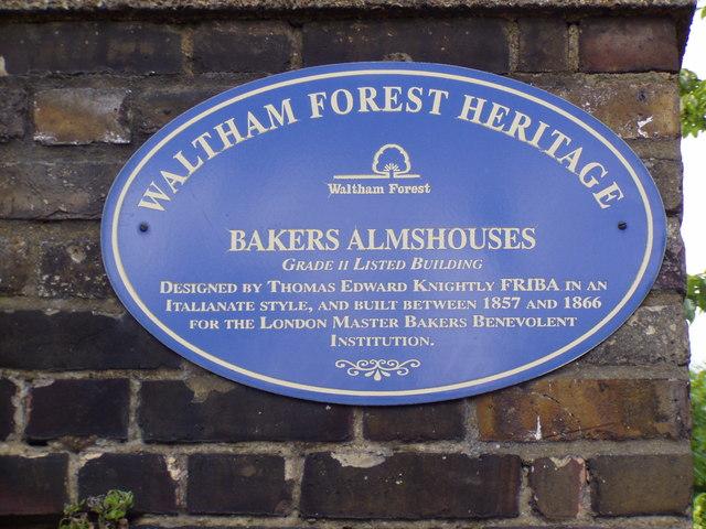 Bakers Almshouses Waltham Forest Heritage blue plaque