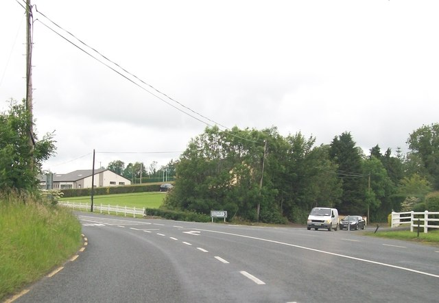 Traffic joining the R188 from the direction of Ballyhaise at Drumhoan