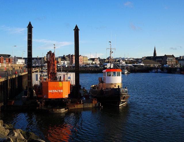 Tug and a dredger, Bangor harbour