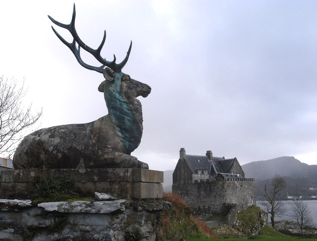 Duntrune Castle and stag