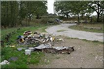 SK5853 : Rigg Lane Car Park access by Alan Murray-Rust