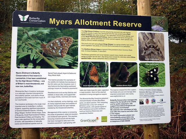 Sign at Myers Allotment Reserve, Silverdale Green