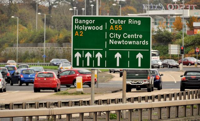 Direction and lane sign, Knocknagoney/Tillysburn, Belfast