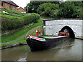 SJ6374 : Narrowboat emerging from Barnton Tunnel, Cheshire by Roger  Kidd