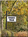 TM4071 : Coopers Wood sign by Adrian Cable
