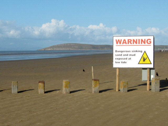 Warning sign on Berrow Beach