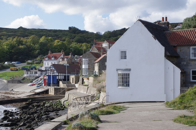 Runswick Bay village from the sea-wall