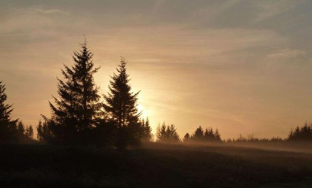 Autumn dawn over Bushes Golf Club, Paisley, Scotland.