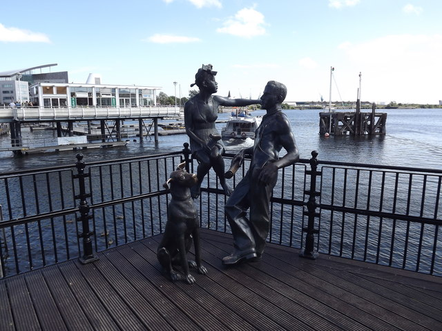 Statues in Cardiff bay