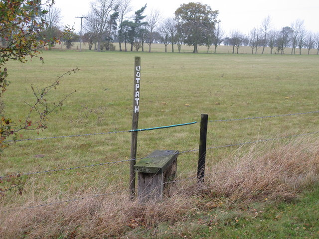 Footpath marker and stile