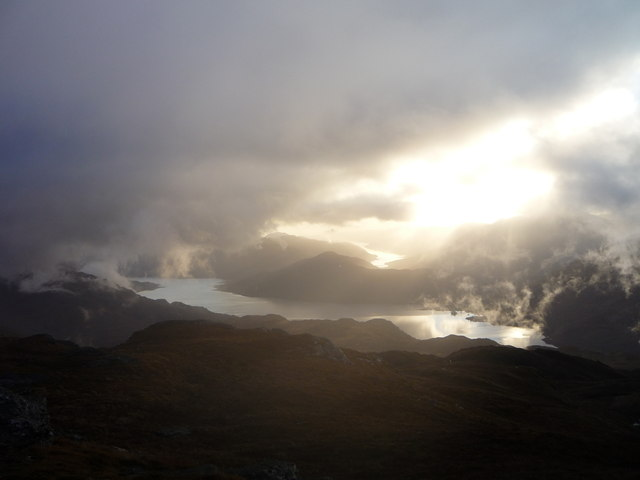 Loch Lomond (near) and Loch Long (far) from the summit of Beinn a' Choin