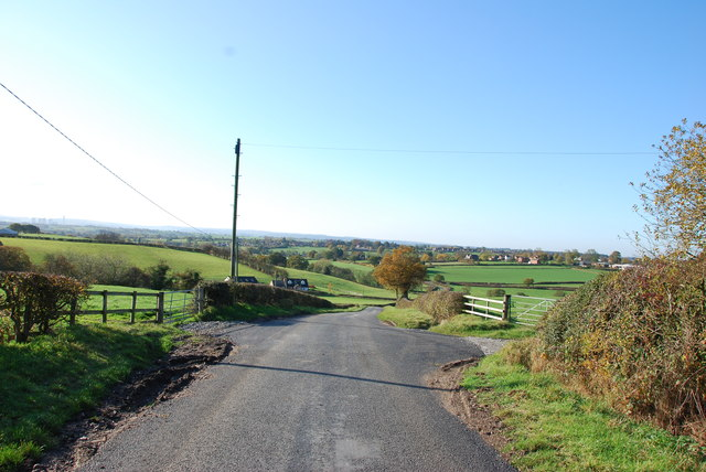 View downhill from Beacon Bank Farm