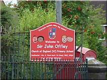 SJ7744 : Sir John Offley CofE Primary School, Madeley, Sign by Alexander P Kapp