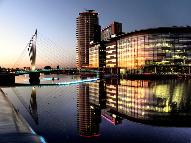 Media City Footbridge and BBC Offices