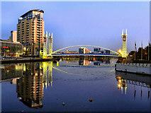 SJ8097 : Salford Quays; The Lowry Bridge by David Dixon