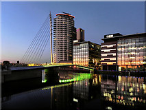 SJ8097 : Media City Swing Bridge and BBC Offices by David Dixon