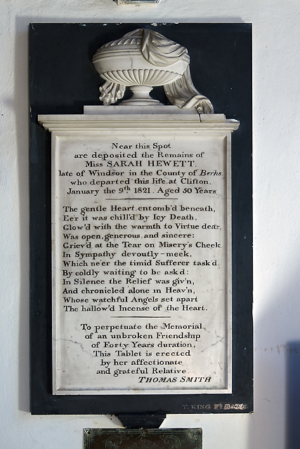 Monument to Sarah Hewett - All Saints' church, West Lavington