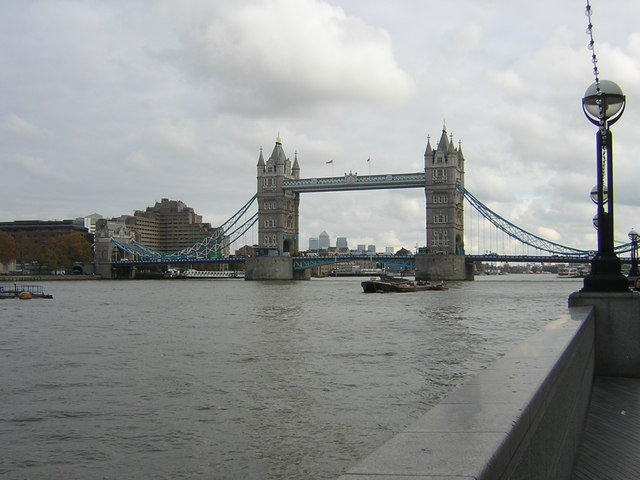 Tower Bridge from the south bank of the Thames, outside City Hall
