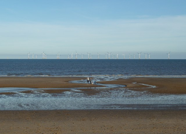 Skegness, beach and windfarm