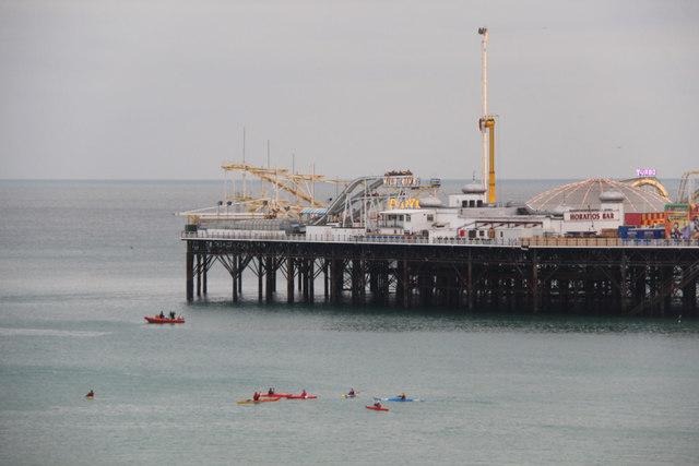 Canoeists at Brighton, East Sussex