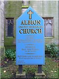 SJ9499 : Albion United Reformed Church, Ashton-Under-Lyne, Sign by Alexander P Kapp