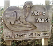 ST4286 : Otter depiction at entrance to Magor Marsh Nature Reserve by Jaggery