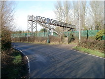 ST4286 : Railway footbridge at the southern edge of Magor by Jaggery