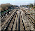ST4286 : Four tracks and two crossovers, South Wales main line, Magor by Jaggery